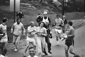"Perhaps one of the most famous ""illegal"" racers, Kathrine Switzer"